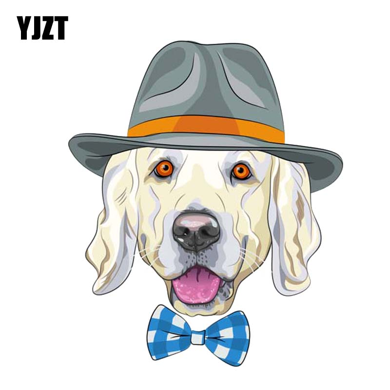 YJZT 11.9CM*14.2CM A Dog With A Hat And A Tie PVC Decal Car Sticker 12-300158