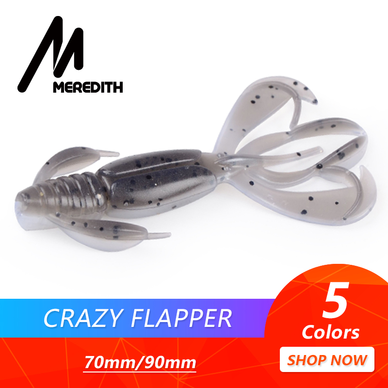 MEREDITH Crazy Flapper Fishing Lures 70mm 90mm Soft Lure Fishing Lures Soft Silicone Baits Shrimp Bass Peche Gear Fishing Tackle meredith fishing lures crazy flapper 70mm 3g 10pc lot craws soft lures fishing for fishing soft bait shrimp bass bait peche gear
