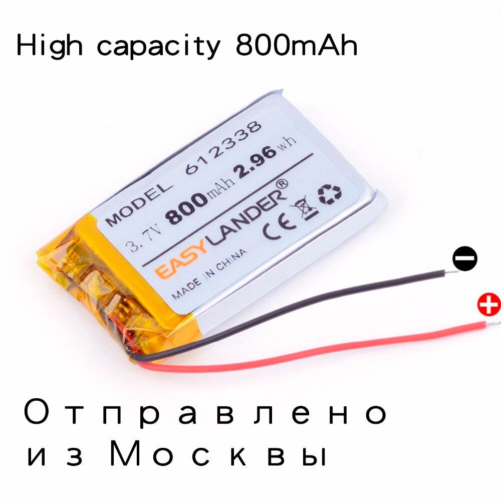 3,7 V 800 mAh 612338 li-polímero batería inteligente casa MP3 oradores para dvr GPS mp4 teléfono celular hablar juguetes LJ 652338 AdvoCam-FD7 Profi
