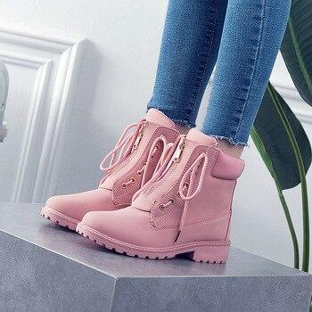 Invierno nieve mujeres botas 2019 nueva moda sólido invierno tobillo botas mujeres punta redonda mujeres zapatos de encaje cuadrado talón zapatos de las señoras