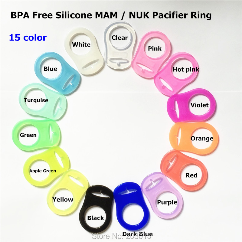 (13 color) 500pcs/lot BPA Free Food Grade Silicone Baby Pacifier Adapter Chain Holder Rings Dummy MAM rings for Napkin NUK