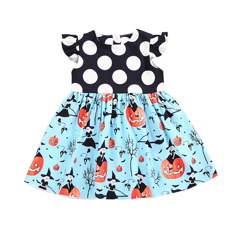 2017 New Halloween Dress Toddler Kids Girls Dots Pumpkin Print Patchwork Child Party Dresses One Pieces Outfits Children Clothes