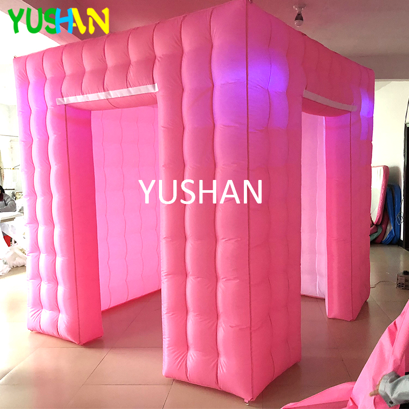 Pink White Inflatable Photo Booth Enclosure Tent with LED Bulbs Light and Open Air Blower Photo