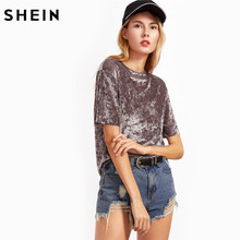 SHEIN T shirt Women Summer 2017 Womens Tops Coffee Short Sleeve Crushed Velvet T-shirt Casual Womens Tee Shirts