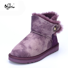 MYLRINA Women Shoes 100% Genuine Sheepskin Leather Women Boots Natural Fur Winter Boots Warm Wool Snow Boots Winter Ankle Shoes