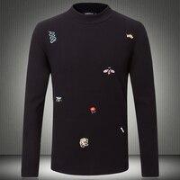 Hot Designer Men T shirts 2019 New Autumn Male Tshirt Animal Embroidery Logo Half Turtleneck Long Sleeve O neck T Shirt 5XL 8308