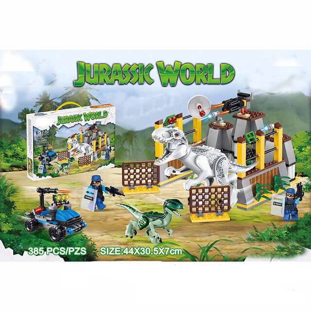 385PCS Jurassic World Park Dinosaur Raptor protection zone Building Blocks Sets Bricks Kids Toys juguetes Classic Legoings XD332 sermoido lele 400pcs bela 79180 jurassic world park raptor escape building blocks kits sets hoskins dinosaur compatible b315