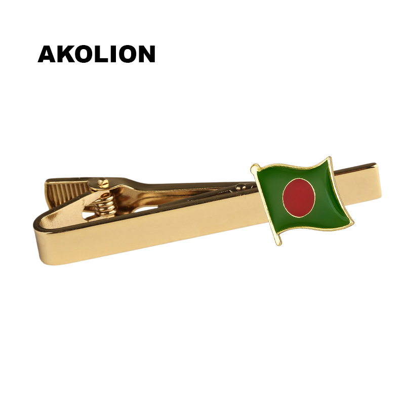 Bangladesh Country Flag Metal Tie Clip Tie Pin For Men Gift Tie bar Fashion Jewelry KS-0123