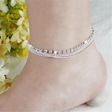 2016 fashion Women's 4 Layers Crystal Beads barefoot sandals Beach Anklet foot bracelet for women SWXFR126.