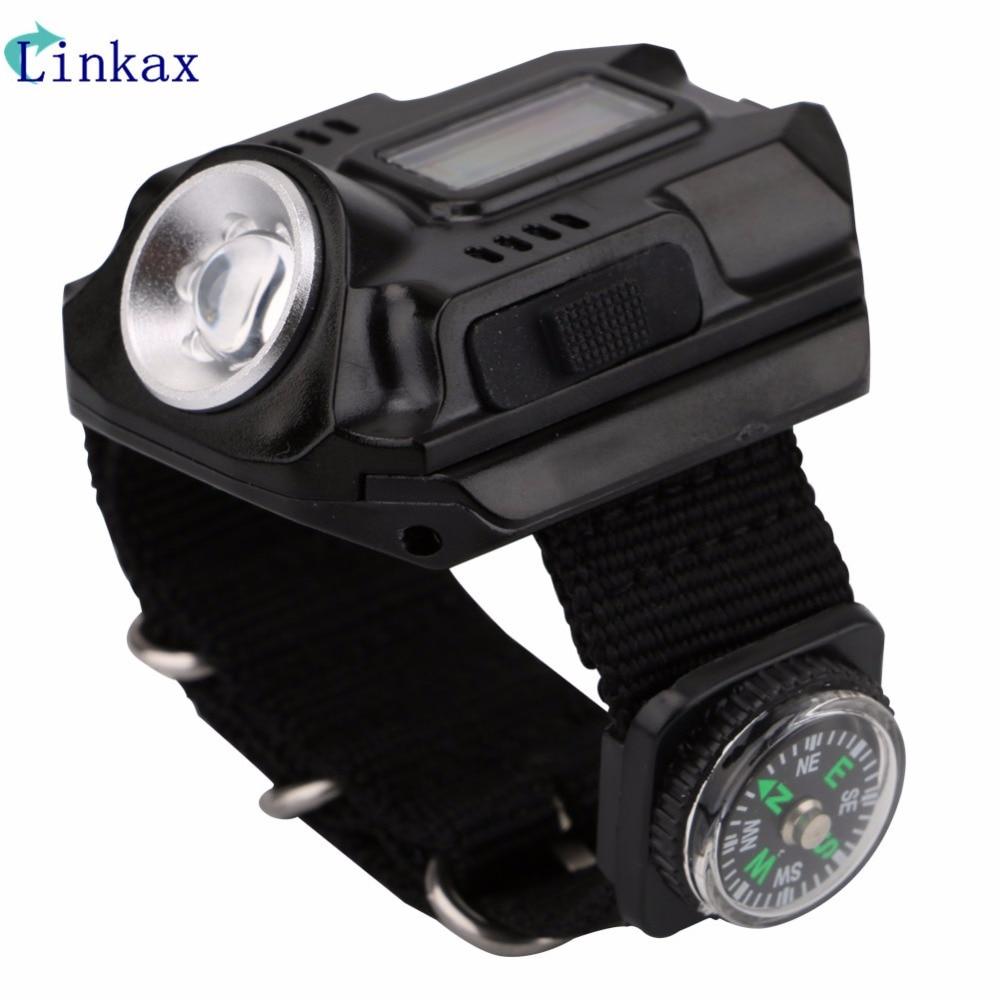 Xpe q5 r2 led relógio de pulso lanterna tocha luz de carregamento usb modelo de pulso tático lanterna recarregável