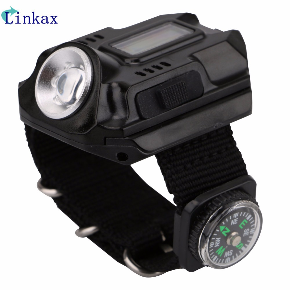 XPE Q5 R2 LED Wrist Watch Flashlight Torch Light USB Charging Wrist Model Tactical Rechargeable Flashlight