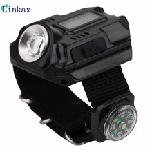 XPE Q5 R2 LED Wrist Watch Flashlight Torch Light USB Charging Model Tactical Rechargeable