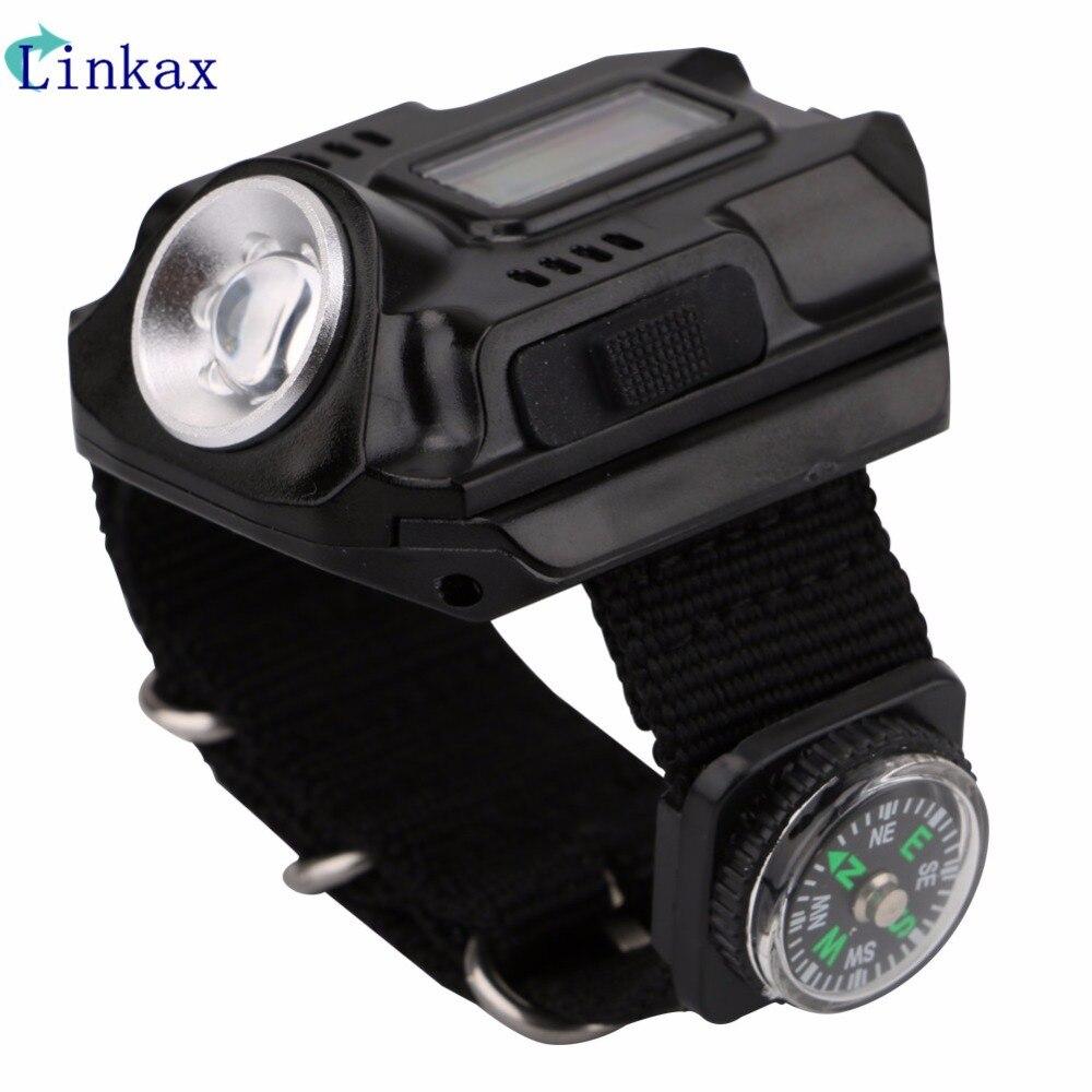 XPe Q5 R2 LED reloj de pulsera linterna antorcha luz USB carga muñeca modelo táctico linterna recargable