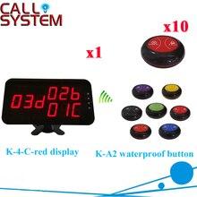 Официант зуммер звонок Системы для ресторана Услуги оборудования Дисплей приемник с caller(1 Дисплей+ 10 вызова кнопки