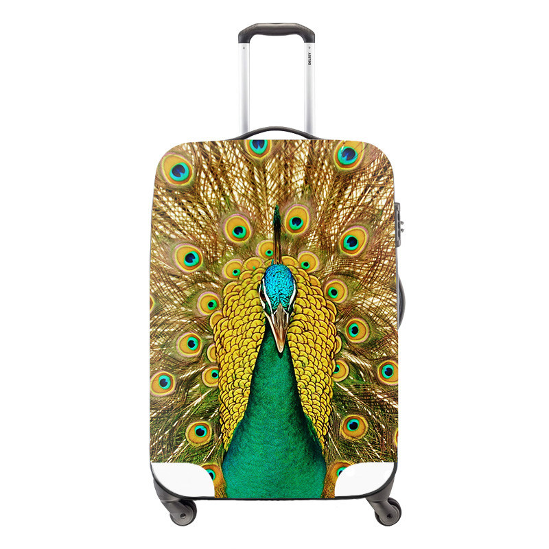 peacock 3D printing elastic polyester travel luggage cover,spandex trolley luggage covers for girls,apply for 18-30 inch