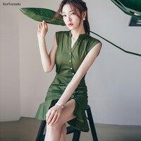 Estilo coreano Moda 2017 Mulheres Verão Verde Militar Único Breasted Curto Bodycon Sexy Escritório Trabalho Do Partido Da Sereia Vestido 9431