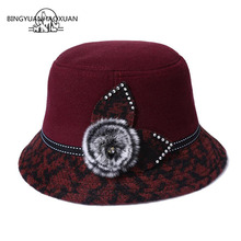 где купить BINGYUANHAOXUAN Female Winter Woolen Vintage Floral Women Felted Felt Hats Fashion Melon Sombrero Fedora Woolen Hat For Women по лучшей цене