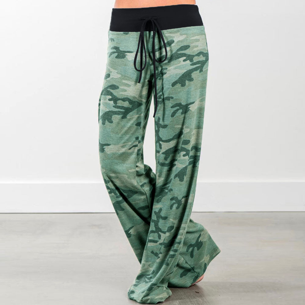 Yellow Color Blocked Wide Leg Pants Women Summer 2019 Streetwear High Waist Pants Elastic Casual Drawstring Long Trousers