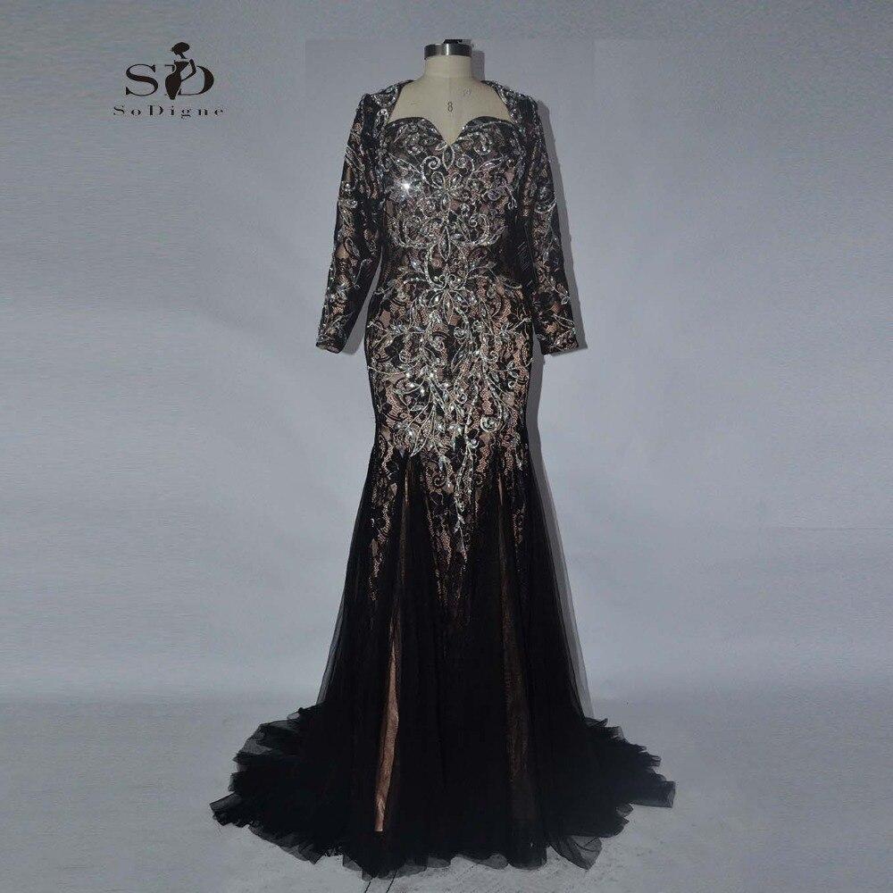Evening Black Dress 2018 SoDigne Long Elegant Dresses Long Sleeve Mermaid vestido de festa plus size