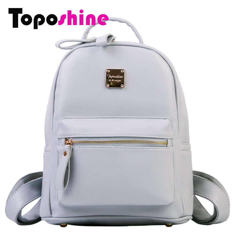 Toposhine New Simple Style Solid Bag Women Backpack PU Leather Women's Bags Girls School Backpack Fashion Female Backpacks 1701 new design women backpack female bag fashion girls school bags lady soft pu leather bag women backpacks large capacity backpacks