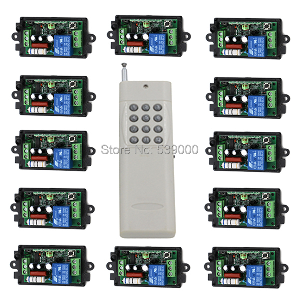 220V 1CH Radio remote Wireless remote control switch LED light lamp switch 12pcs receiver + 1pcs 12CH transmitter 220v 1ch radio wireless remote control switch light lamp led on off 12 receivers