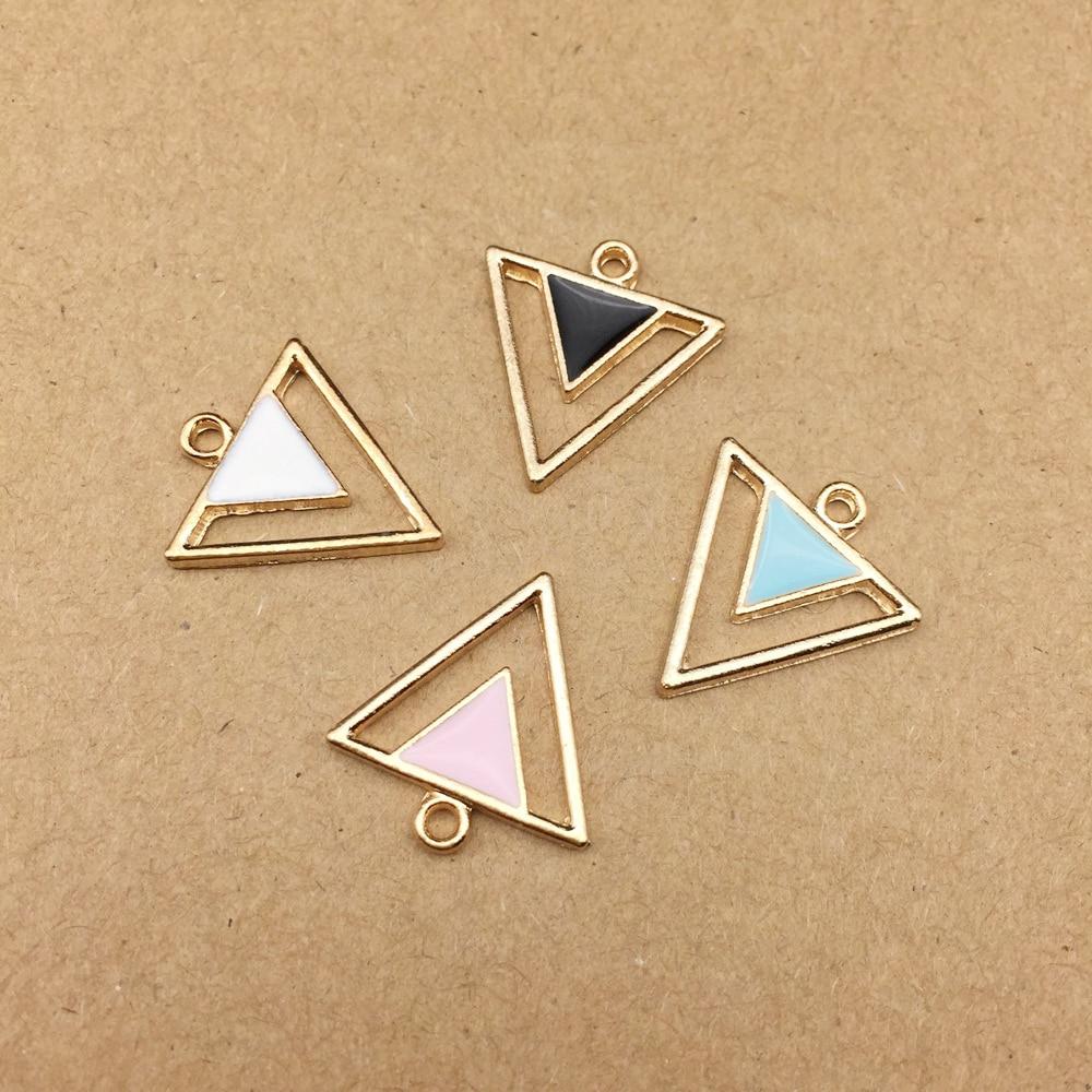 10 шт. 17x19 мм Эмаль треугольная Подвеска для ювелирные изделия делая и Крафта очаровательные модные серьги с подвесками
