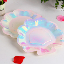6Pcs Iridescent Sparkle Shell Paper Plates Party Dish Tableware 9 Mermaid Theme Festival For Baby Shower Wedding Supplies