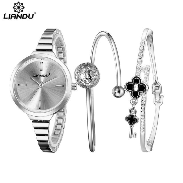 LIANDU 2018 Fashion Watch Women Silver Fashion Bracelet Watches Luxury Diamond F
