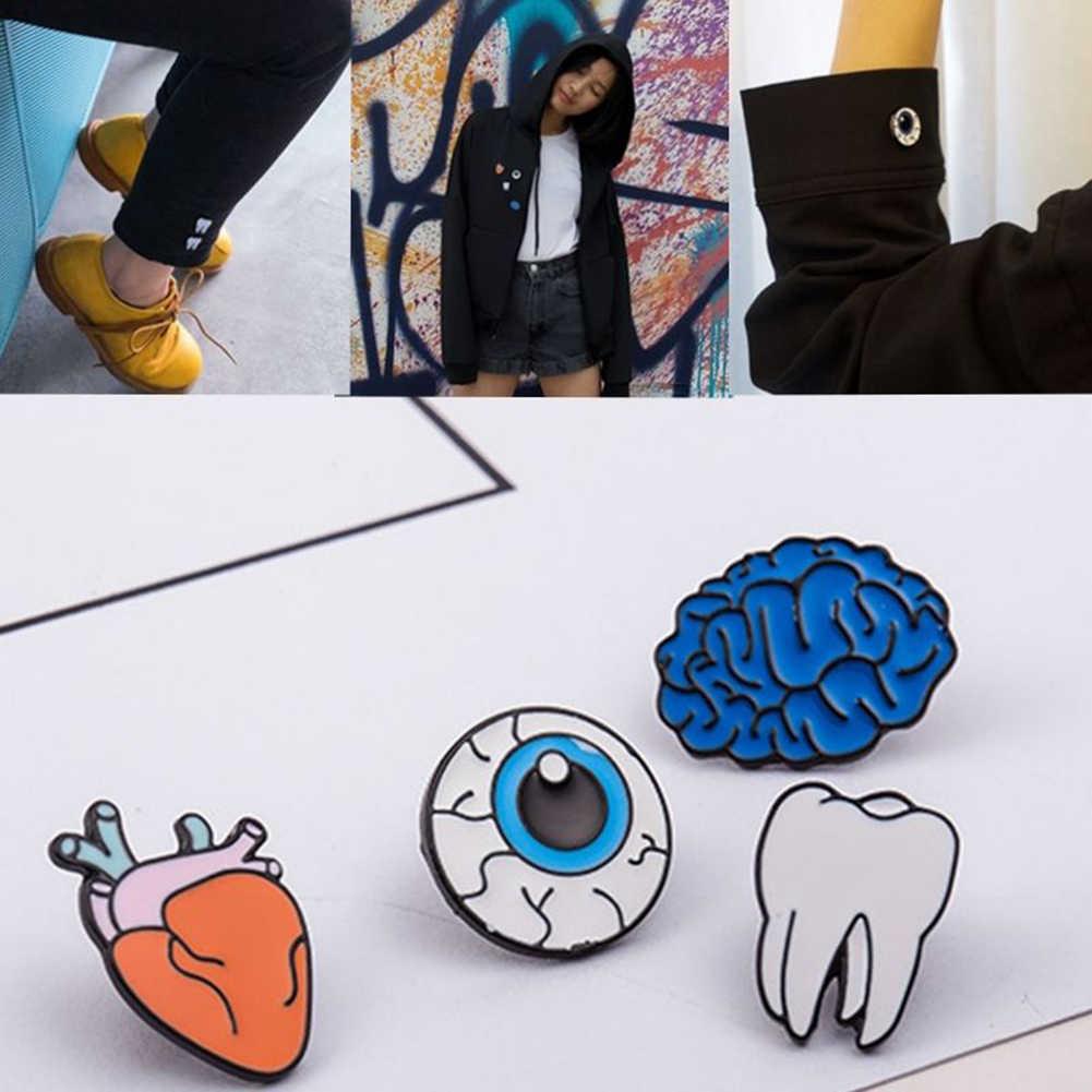 2017 Kreatif Kerah Korsase Kartun Gigi Mata Organ Bros untuk Wanita Pria Anak Gothic Mini Kecil Pin Perhiasan Mantel Celana Jeans anda Dapat Bermain