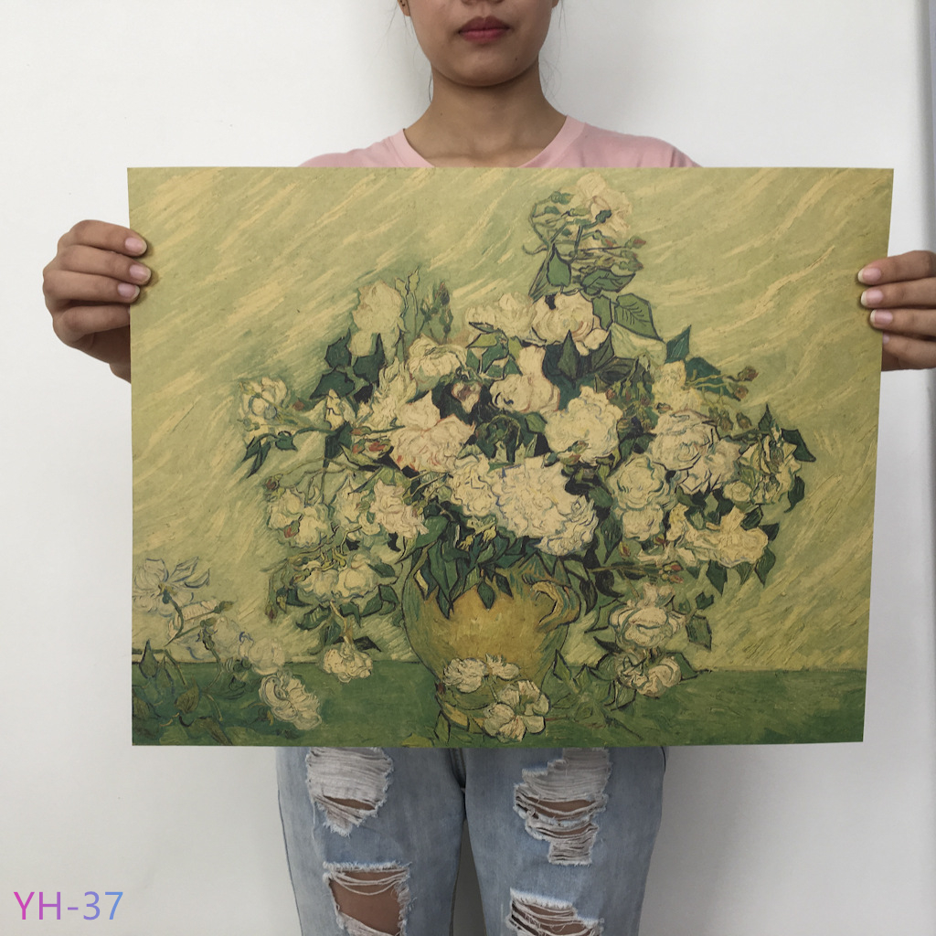 HTB1hzdRXYr1gK0jSZFDq6z9yVXao New Van Gogh Monet oil Poster vintage Classic Kraft Paper Poster Painting Wall Stickers Home Decorative YH-31-42