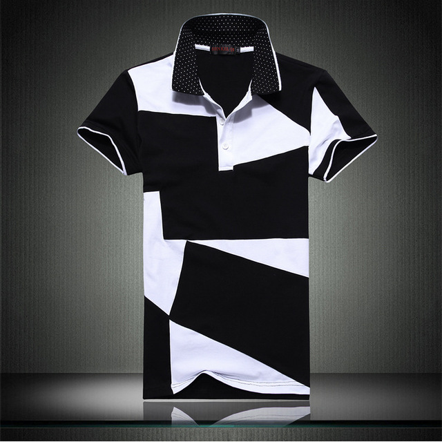 Men's Short Sleeve Polo Shirt Black And White Irregular Stitching Summer Casual Mens brand Lapel POLO Large Size 4xl 5xl 6xl