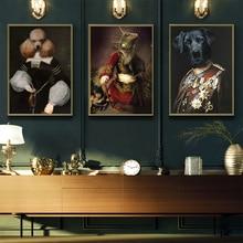 WANGART винтажный плакат на стену художественная собака ретро ностальгия джентльмен картина маслом Животные Печать холст Картина гостиная домашний декор