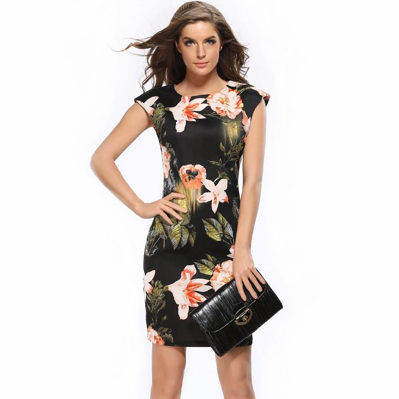 Devoted Dresses 2017 Aliexpress Vintage Europe America Vestido Slim Flowers Cheongsam-style Dress Package Hip Pencil Vestidos Lh718 For Improving Blood Circulation Women's Clothing
