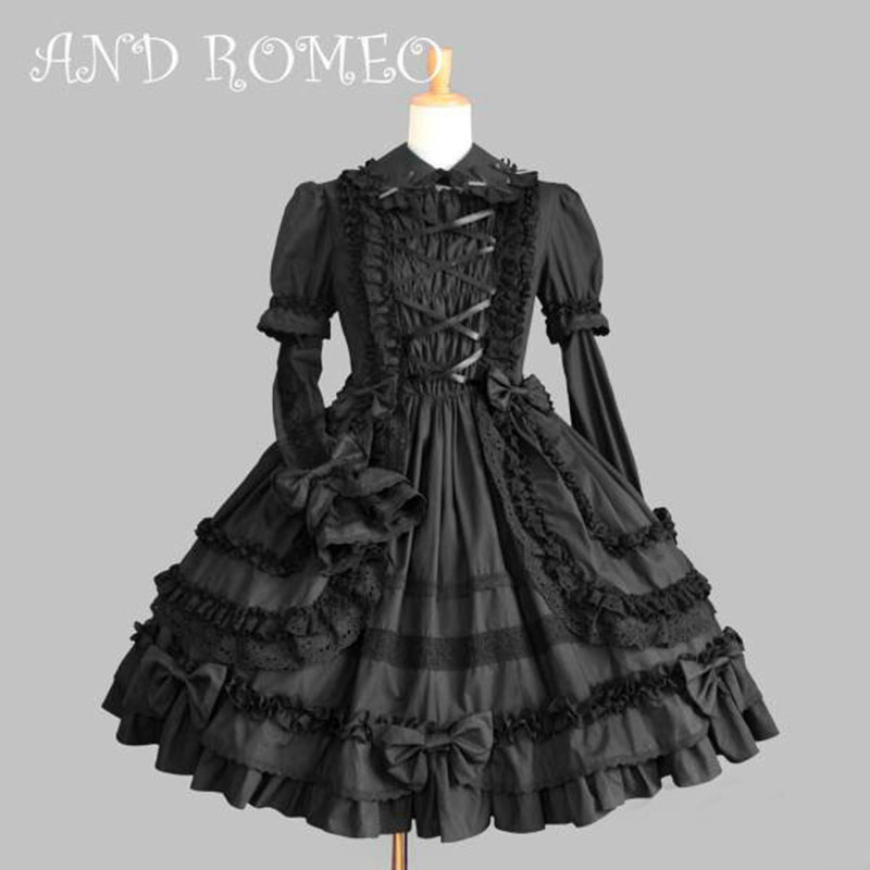2018 Long Sleeve Black and Pink Cotton Lace Bow Classic Lolita Dress Gothic Style Ruffles OP Dress For Girl