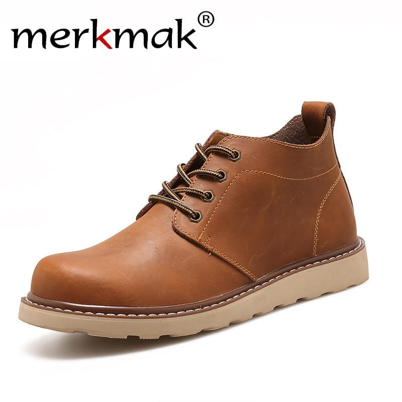 Merkmak En Cuir Hommes Bottes Automne Hiver Cheville Bottes Mode Casual Chaussures à Lacets Chaussures Hommes Haute Qualité Vintage Hommes Chaussures