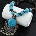 Bohemia style big Rhinestone Turquoise long necklace choker jewelry boho vintage accessories for women jewelry