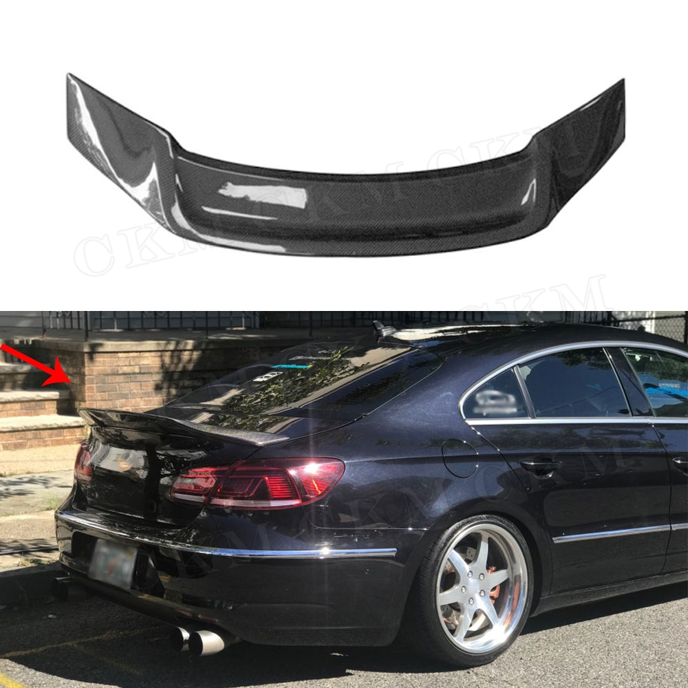 R Style Carbon fiber / FRP Rear Roof Spoiler Lip Wings for Volkswagen VW Passat CC Sandard 2009-2018 passat cc frp primer rear trunk lip spoiler wing for volkswagen vw cc 2010 2015