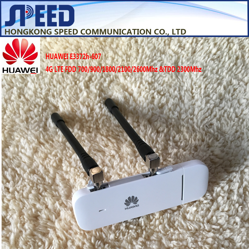 Unlocked Huawei E3372 E3372h-607 + Dual Antenna 4G LTE 150Mbps USB Modem USB Dongle Support All Band with CRC9 antenna
