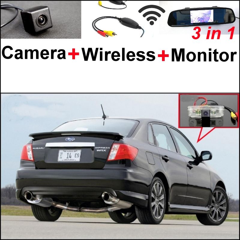 3 in 1 Special Rear View Camera + Wireless Receiver + Mirror Monitor Black Up Parking System For Subaru Impreza WRX STi (Sedan) wireless pager system 433 92mhz wireless restaurant table buzzer with monitor and watch receiver 3 display 42 call button