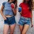Incrível Verão Sexy Mulheres de Slim Shorts Jeans Denim Esfarrapado Quente Calções de Design Da Marca Borla Shorts Jeans