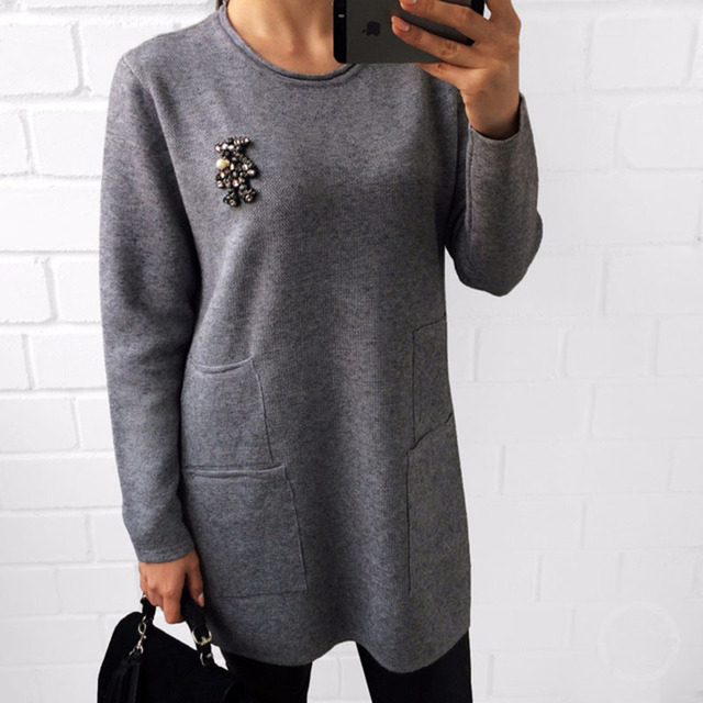 Yeeshan Diamonds Bear Sweater Knitted Long Sleeve Women's Sweaters and Pullovers Casual Long Winter Sweaters Women