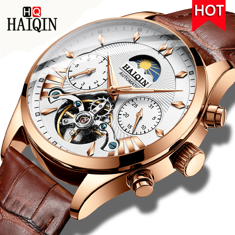 HAIQIN Hollow Automatic Watch Men Moon Phase Wristwatch Waterproof Mens Tourbillon Mechanical Watch Top Brand Luxury Male Clock