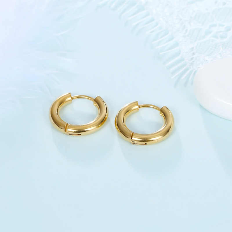 0e76b653c ... 1pair Punk Black Thick Round Circle Hoop Earrings For Women Men Silver  Personality Gold Small Earring ...