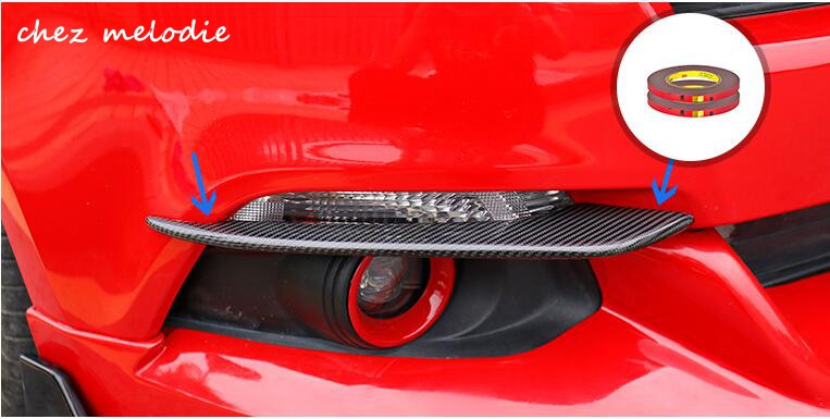 1pair top quality real carbon fiber/FRP car outside foglight lips brows trims accessories for 2015-2017 Ford mustang frp fiberglass garage defend style cooling panel fiber glass engine accessories for nissan skyline r34 gtr car styling