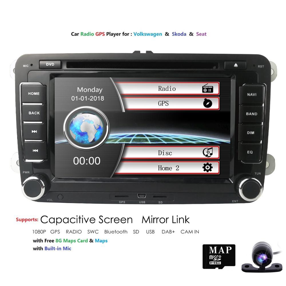2 Din 7 pouces lecteur de Radio DVD GPS de voiture pour Volkswagen golf 5 6 touran passat B6 B7 sharan JATTA Skoda siège Autoradio caméra gratuite