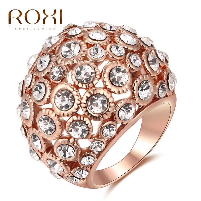 ROXI Ring Good Quality Genuine Crystal Rose Gold Color Fashion Ring For Women Weding Gift Party Body Jewelry For Women ...