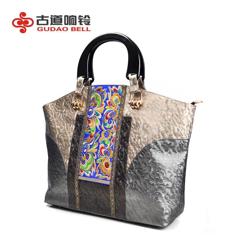 À En De Chinois Cuir Gros Broderie Femmes Ethnique Main Color Style Sac Carré Yunnan Sacs Photo Pu S5w4z4
