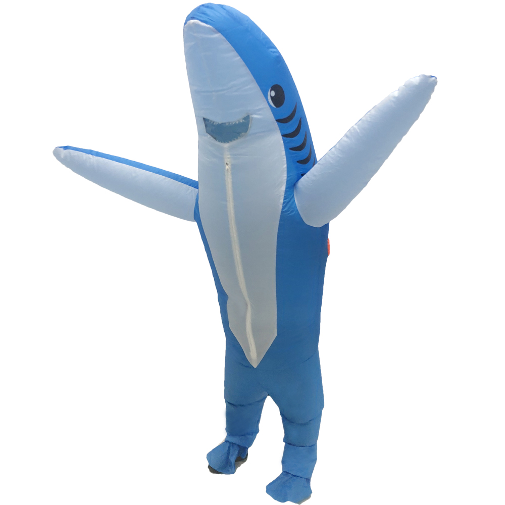 New Inflatable Shark Costume Adult Blow Up Mascot Cosplay Halloween Costumes For Women Men Animal Cartoon Fancy Dress