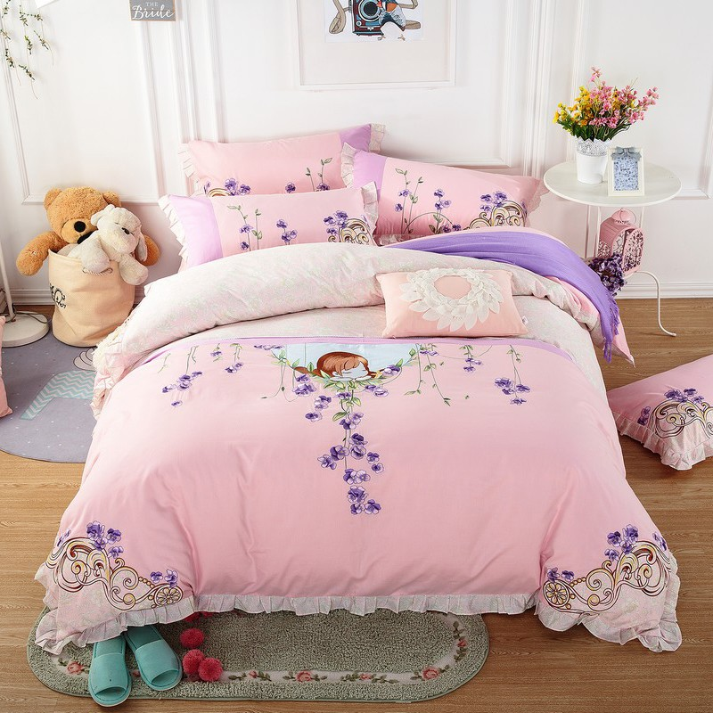 Princess style 100%Cotton Girls Bedding set Embroidery Queen King size Bedding sets Soft Duvet cover Bed sheet set Pillowcase 38Princess style 100%Cotton Girls Bedding set Embroidery Queen King size Bedding sets Soft Duvet cover Bed sheet set Pillowcase 38