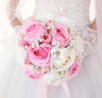 El yapımı Yapay Çiçekler Uzun Şerit Ile Pembe İpek Gül Çiçek Gelin Nedime Buketleri Düğün Buket Ev Dekorasyon